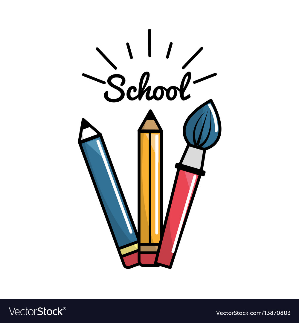 Pencil case school tools icon