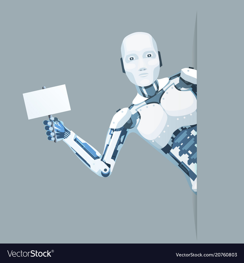 Poster in hand android robot look out corner
