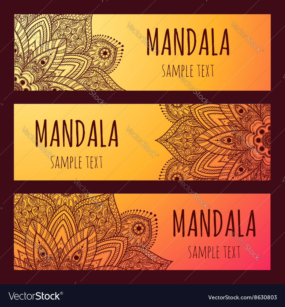 Set of beautiful floral banners Mandala vector image