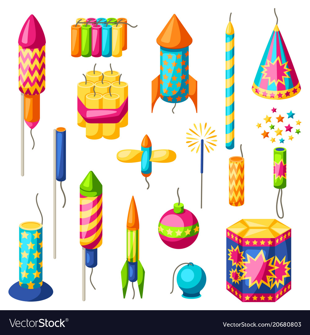 Set of colorful fireworks different types of