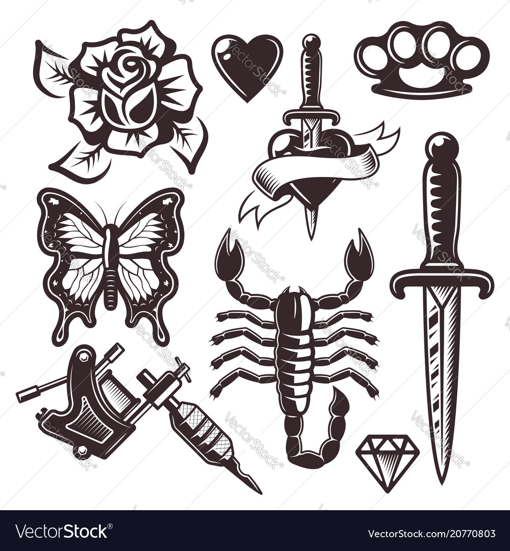 Tattoo set of objects and design elements