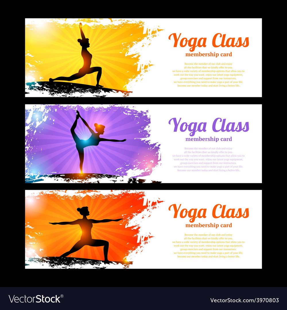 Yoga Banner Set Royalty Free Vector Image Vectorstock
