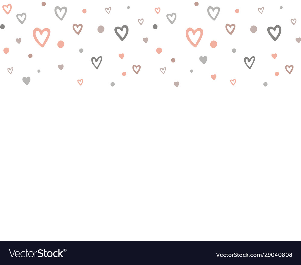 Doodle hearts horizontal seamless pattern border
