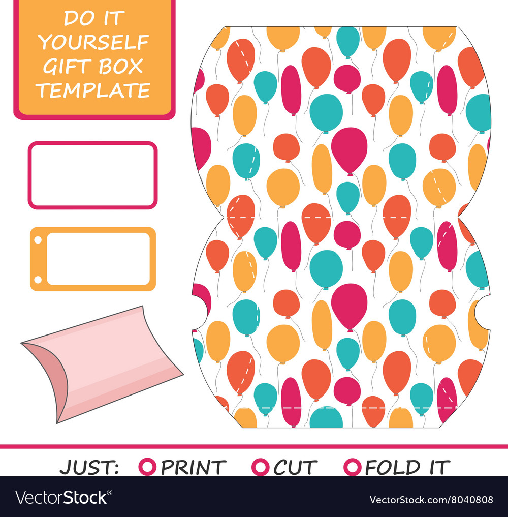 Favor gift box die cut Box template Great for vector image