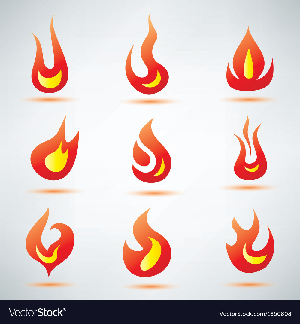 Fire flame symbol set of icons