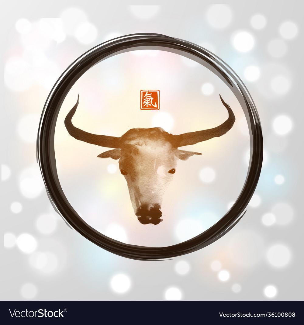 Ink painting bull chinese new year symbol
