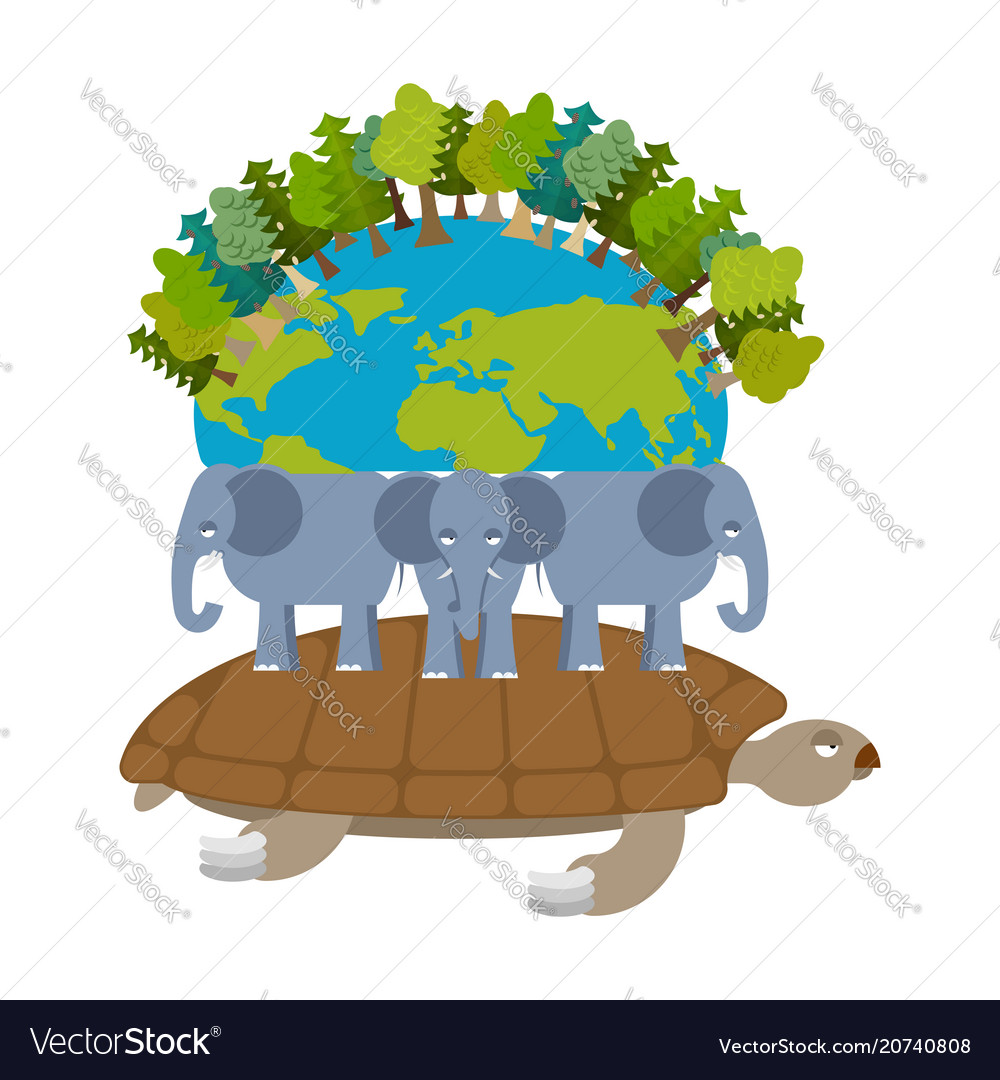 mythological planet earth turtle carrying vector image
