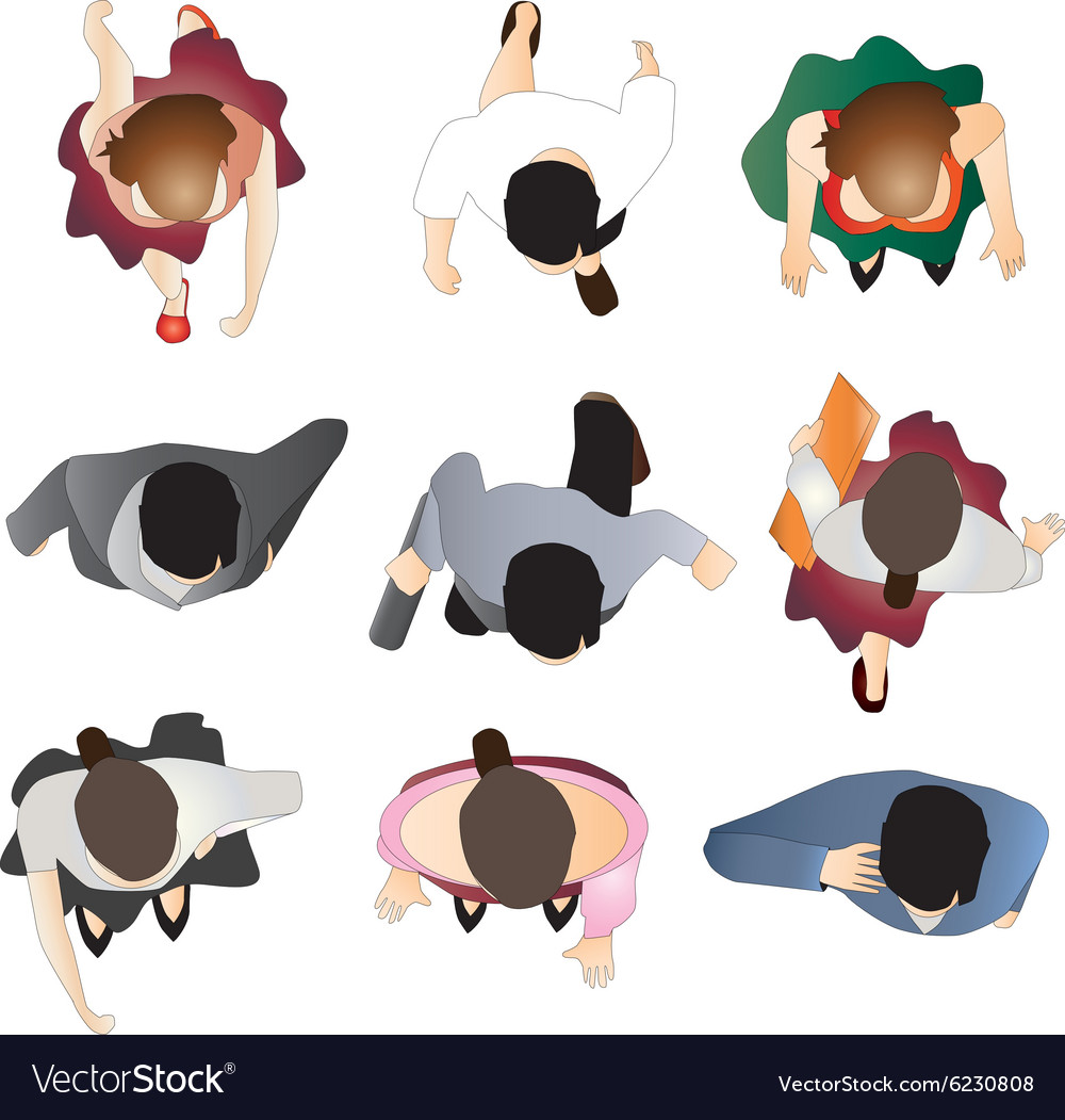 People standing top view set 9 vector image