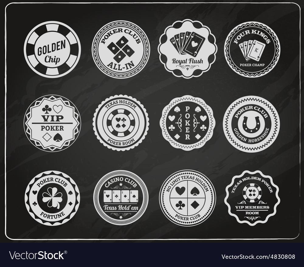 Poker chalkboard labels set