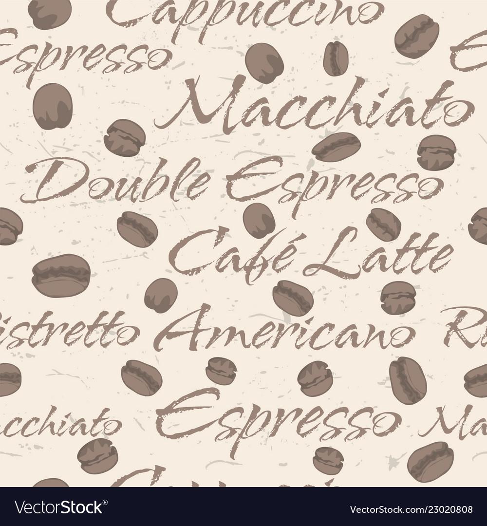 Seamless repeating coffee bean pattern
