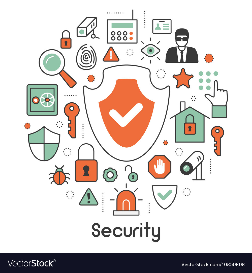 Security and Safety Thin Line Icons Set