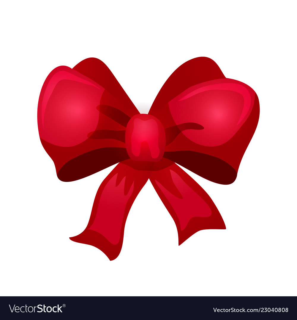 Shiny red bow for design merry christmas card