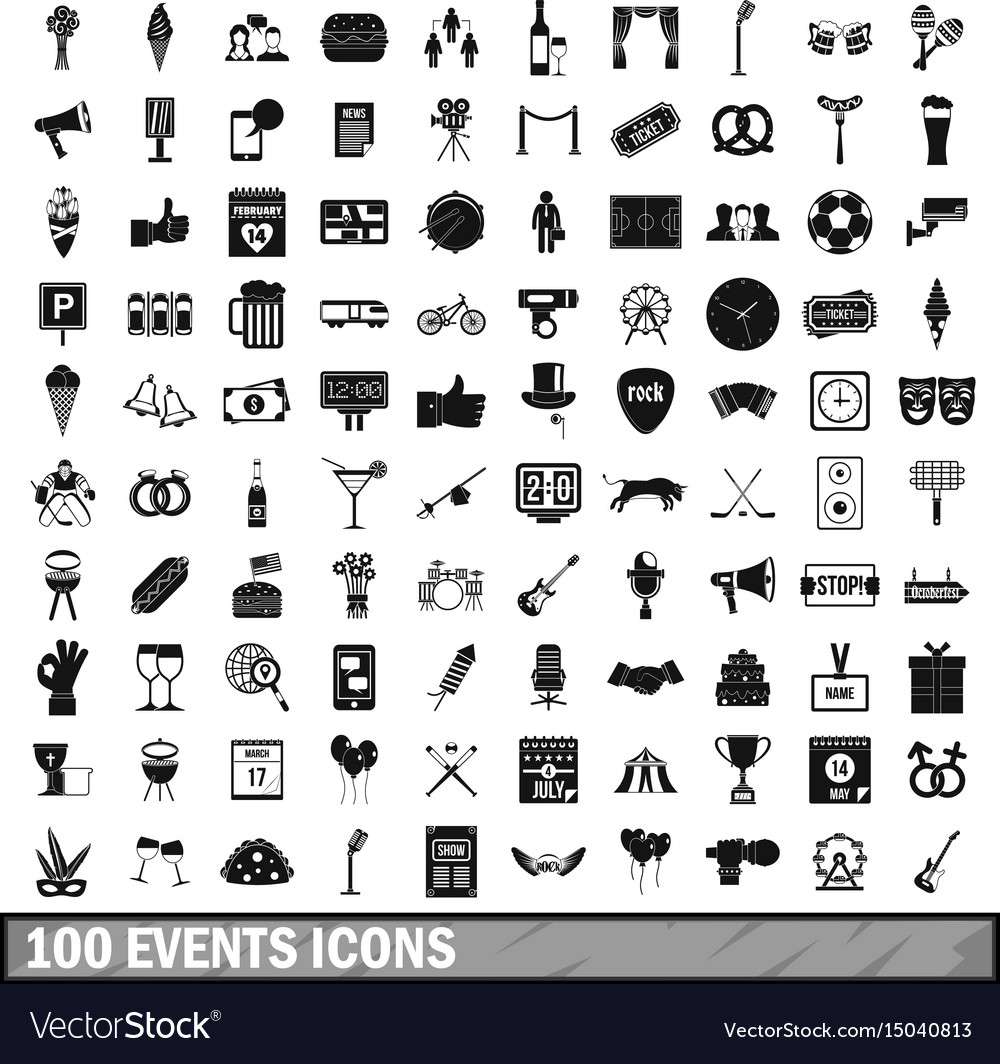 100 events icons set simple style