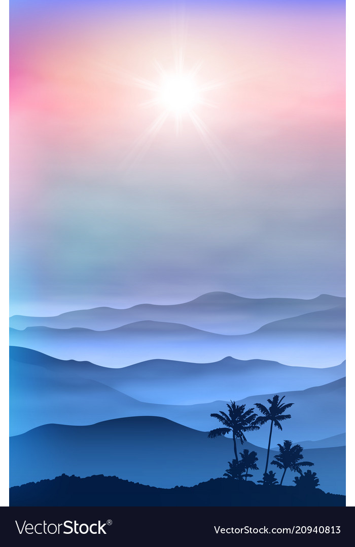 Background with palm tree and mountains in the fog