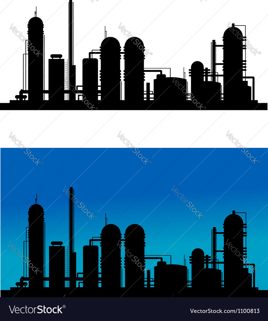 Chemical or refinery plant vector image