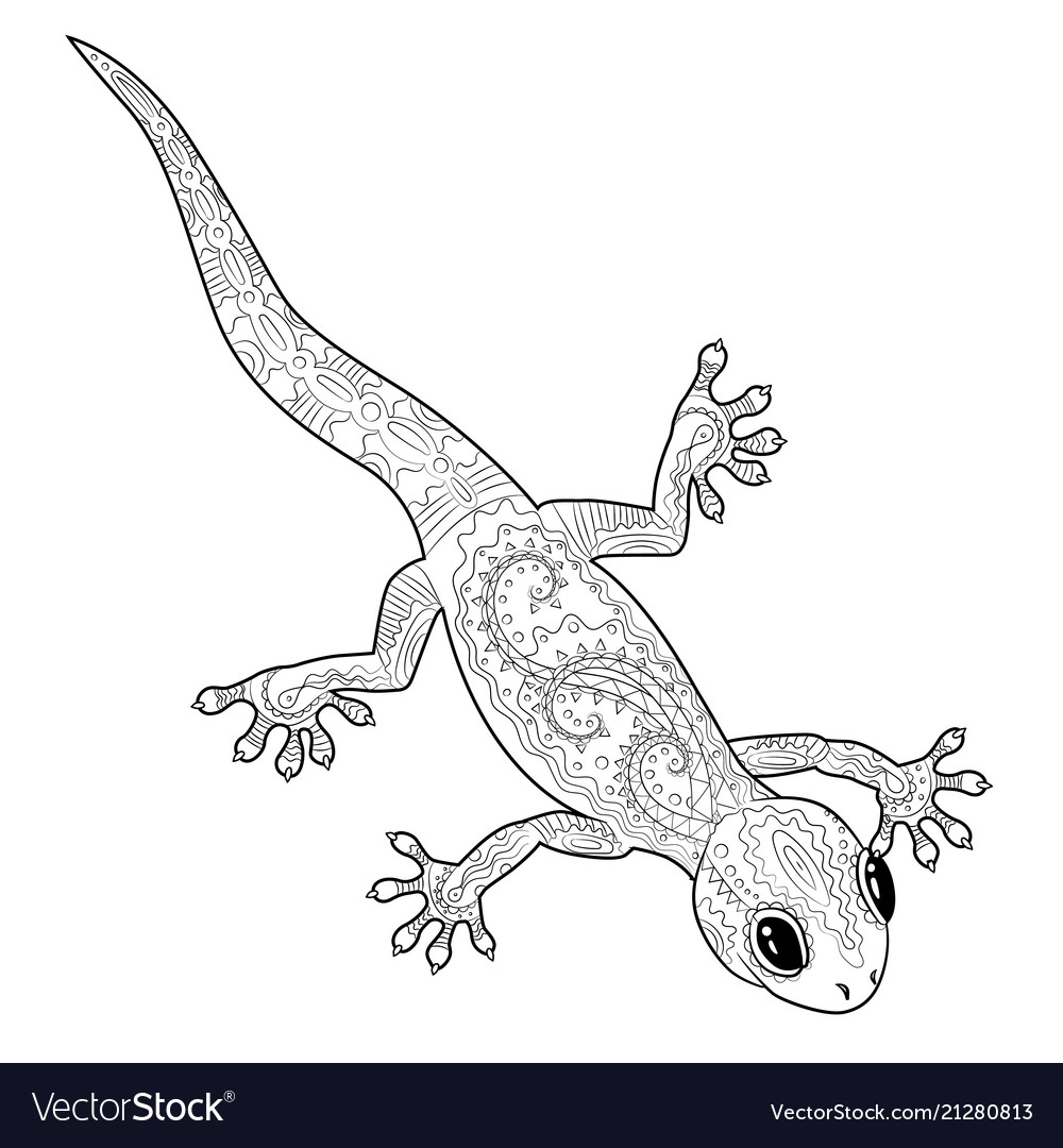 coloring page with gecko in zentangle style vector