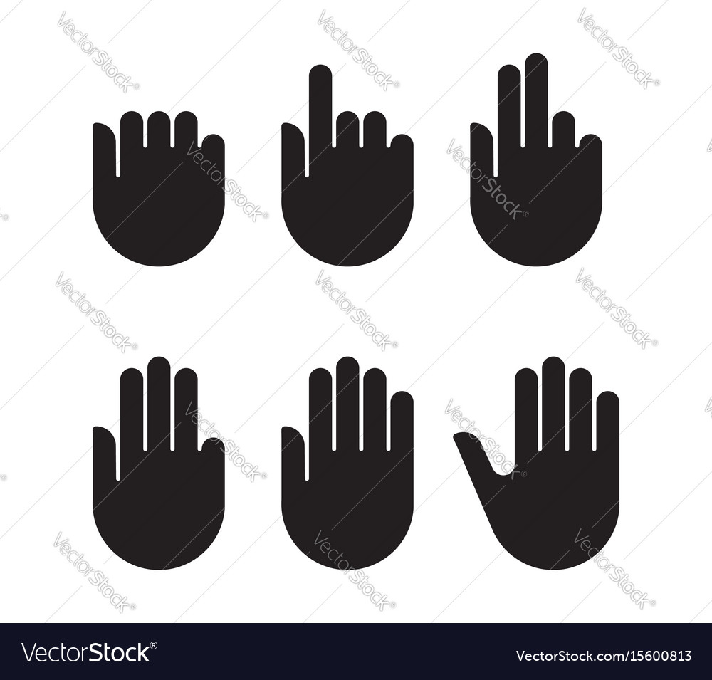 Counting hand signs black silhouette set icons vector image