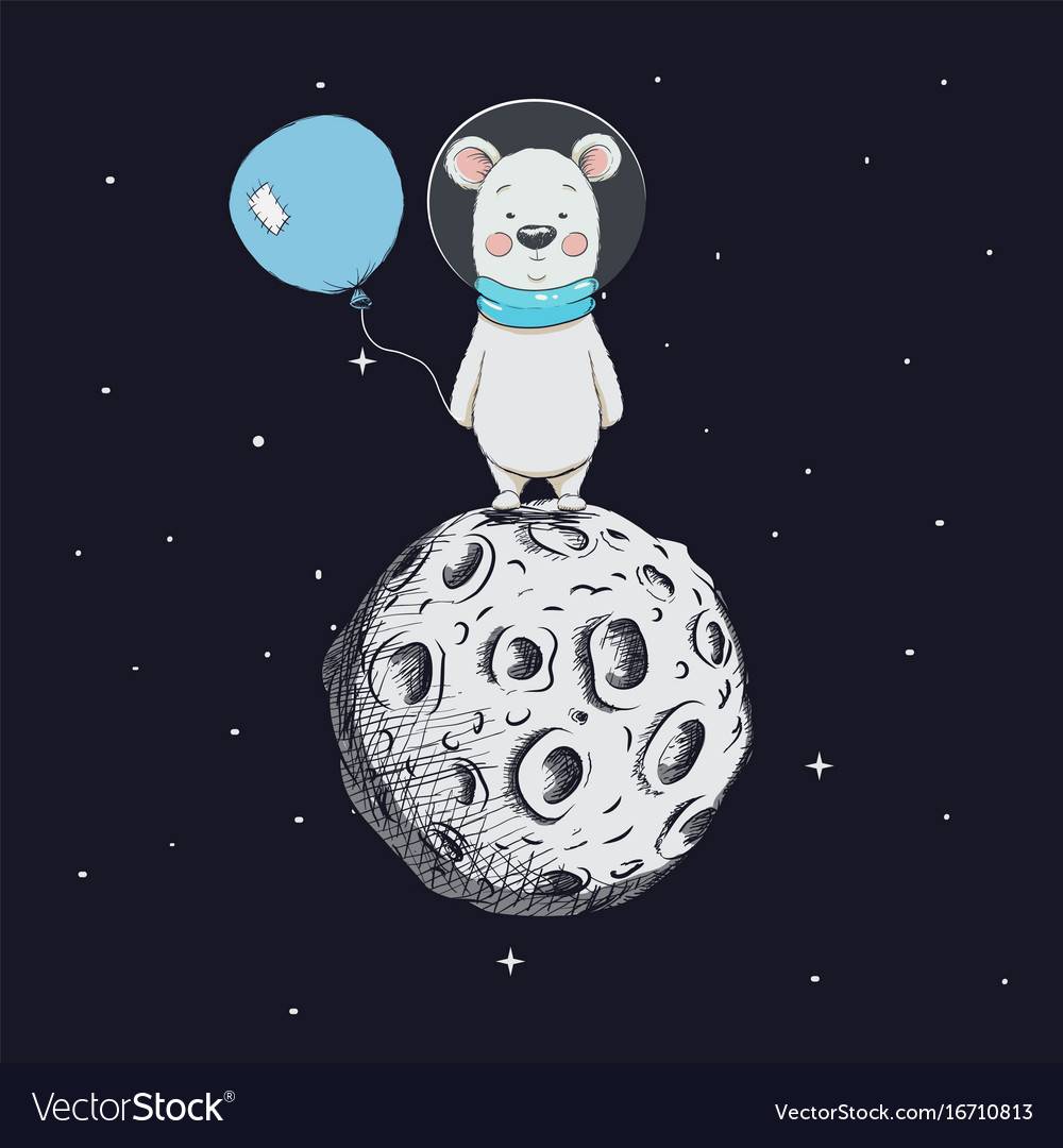 Cute bear with balloon stand on moon
