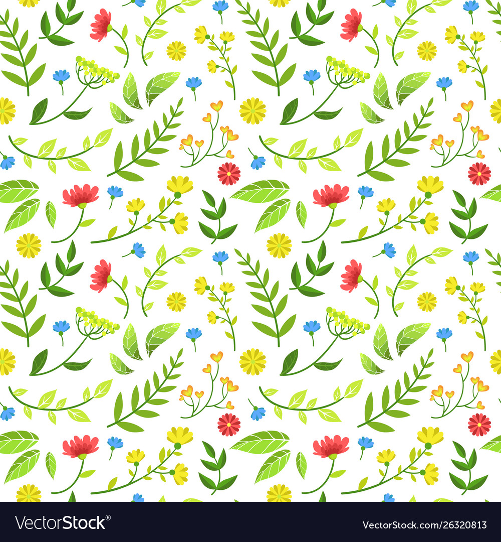 Floral seamless pattern round shape with green