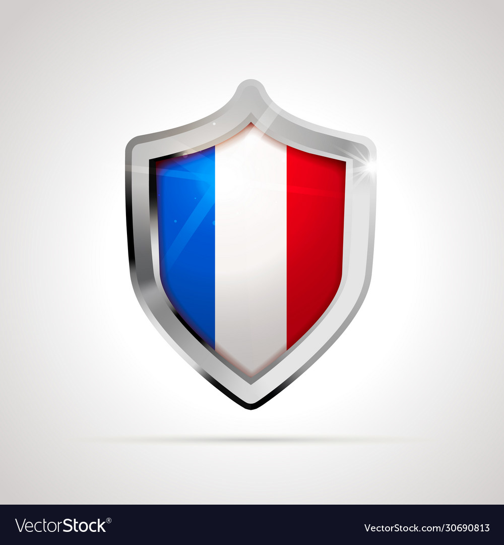 France flag projected as a glossy shield on a