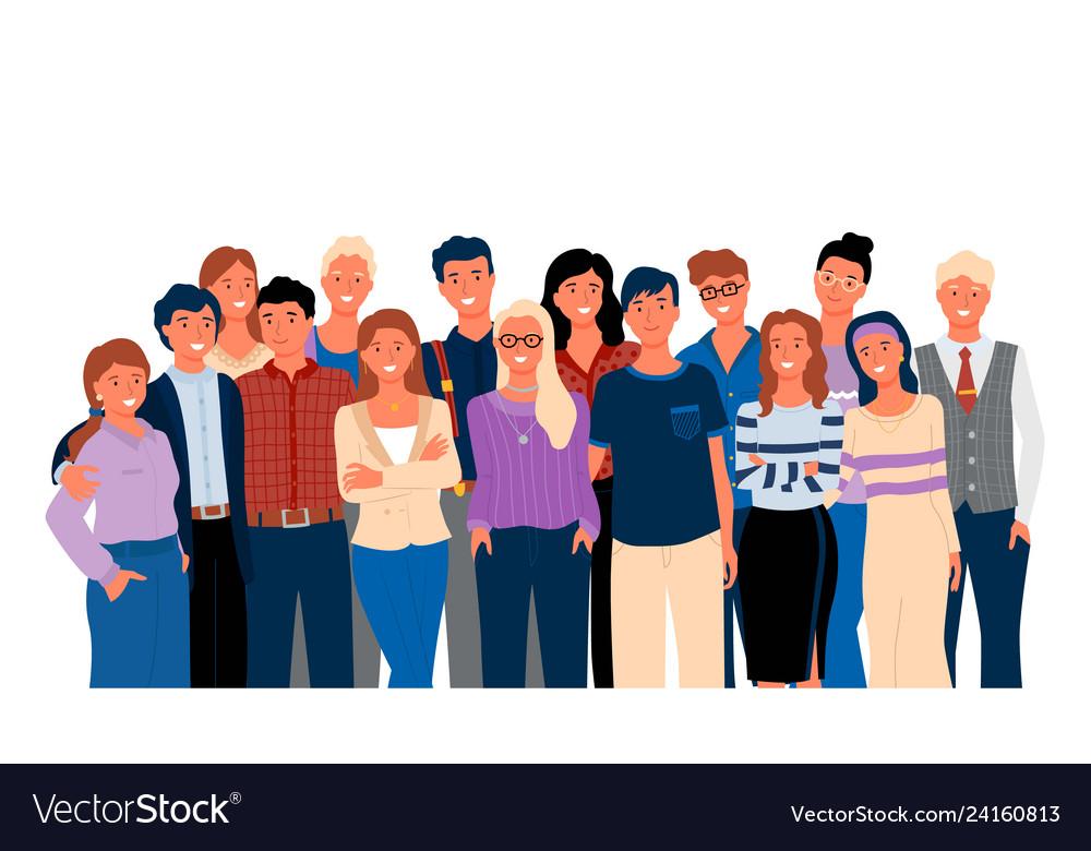 Group portrait view hugging men and women