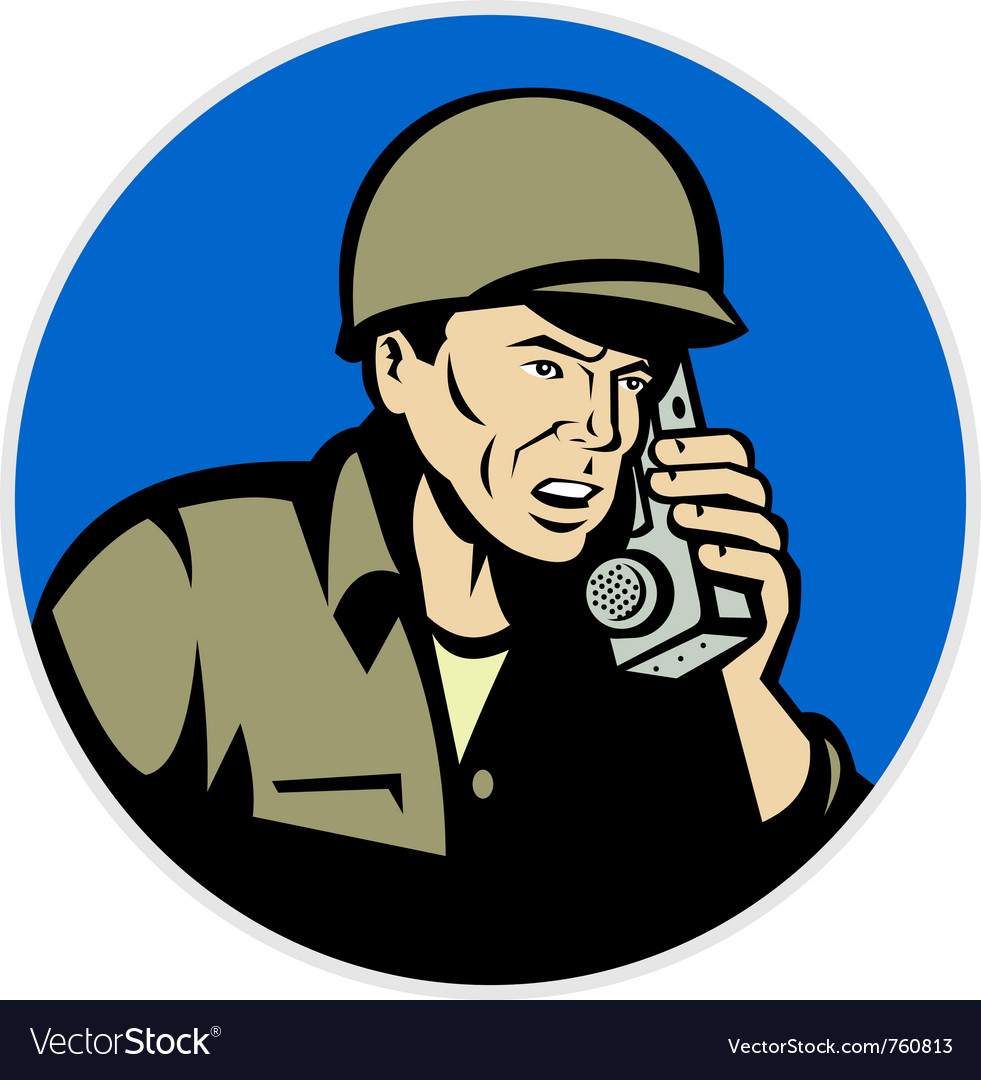 Military soldier on radio vector image