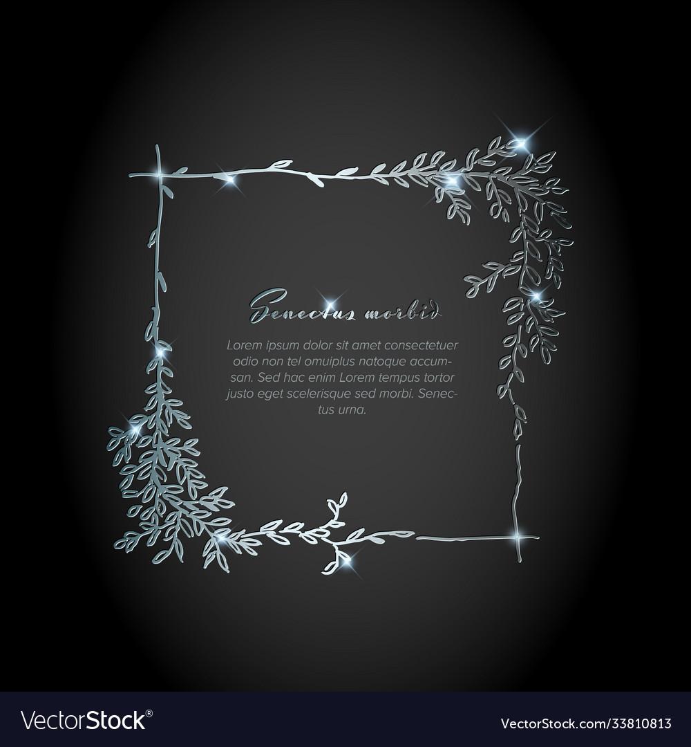Minimalist silver square floral flyer