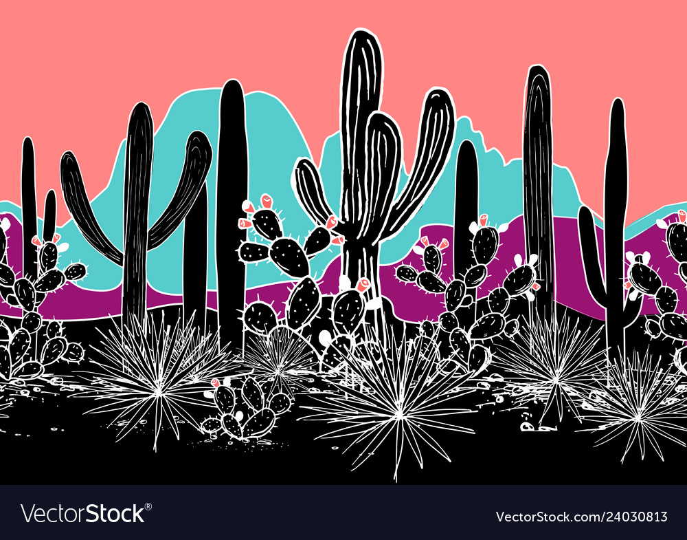 Seamless pattern with cacti and mountains