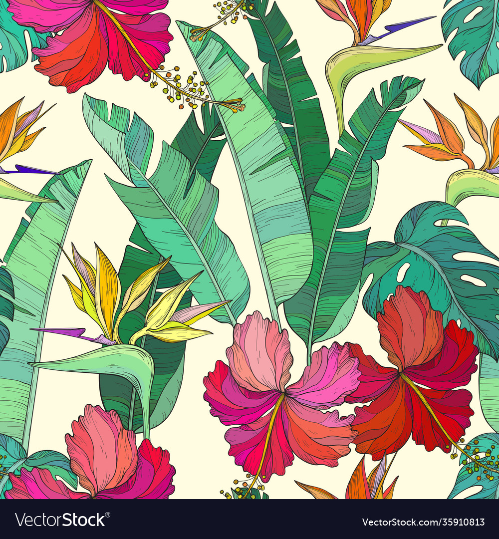 Seamless pattern with tropical palm leaves and