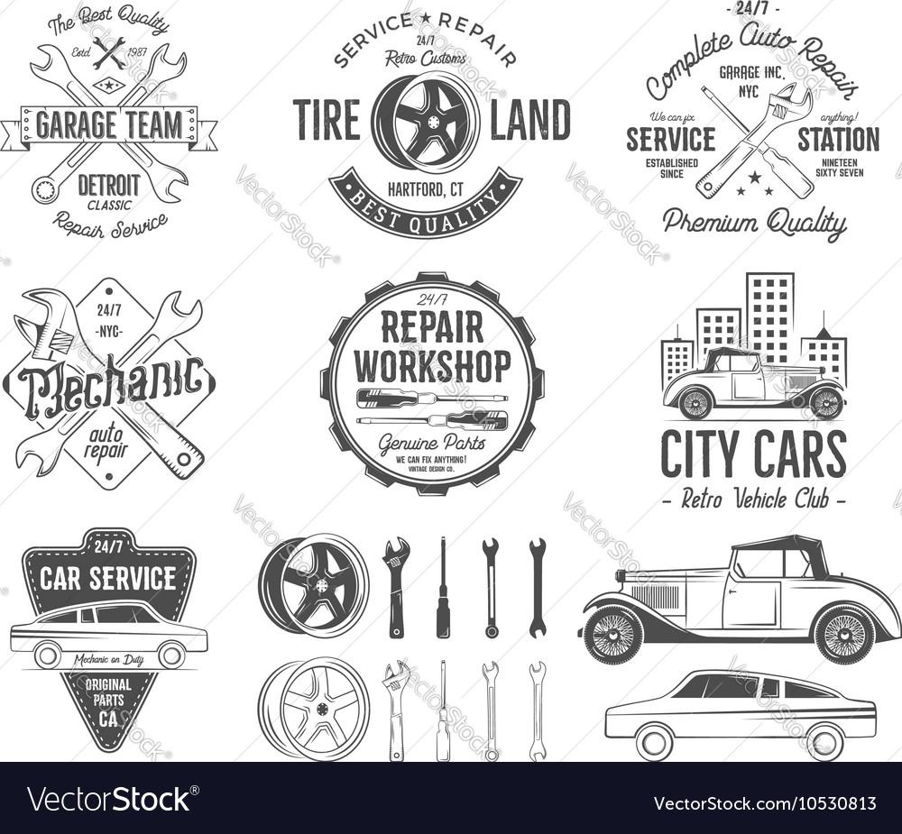 Vintage car service badges garage repair retro