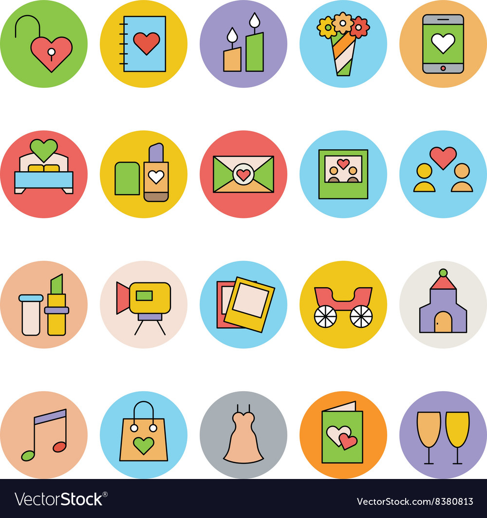 Wedding Colored Icons 2 vector image