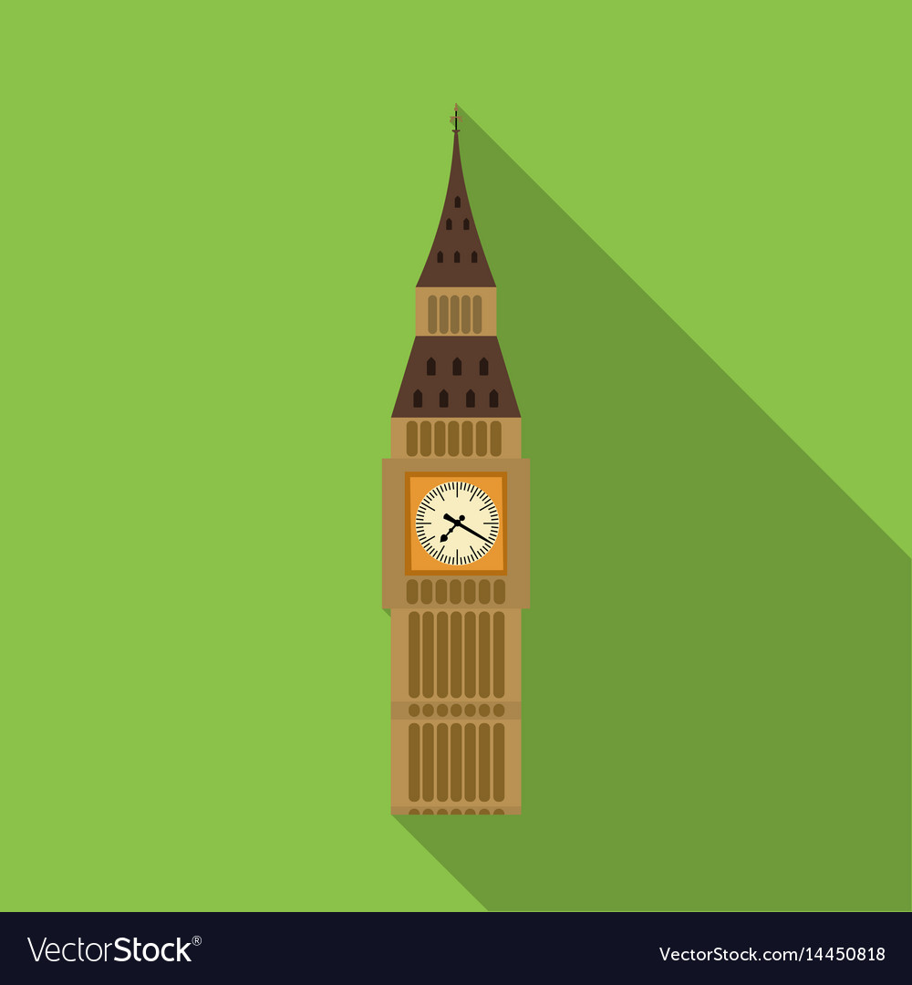 Big ben icon in flat style isolated on white