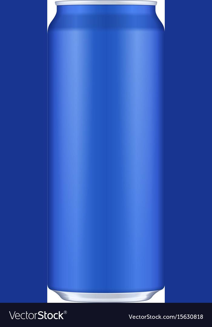 Blue metal aluminum beverage drink can 500ml vector image