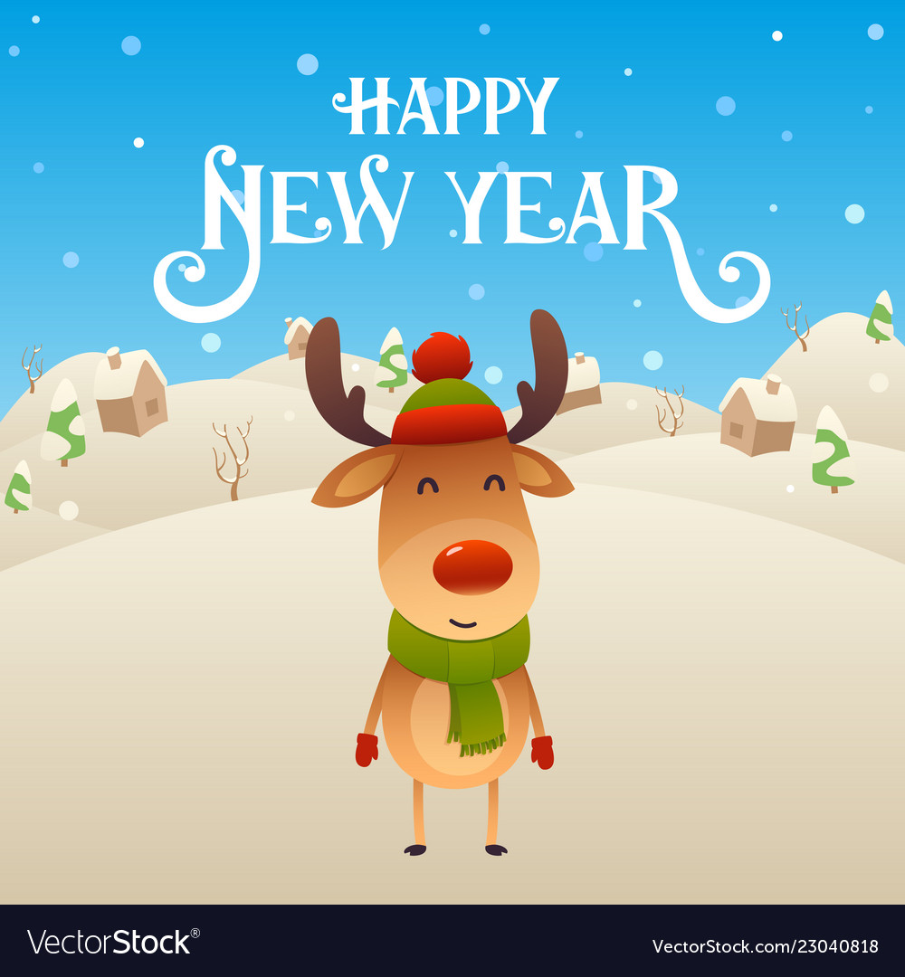 cute cartoon reindeer character happy new year vector image