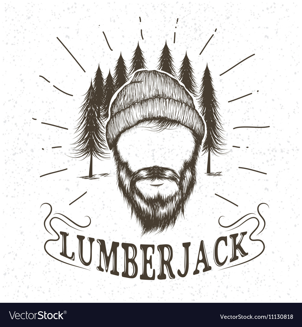 Face of lumberjack with beard and hat vector image