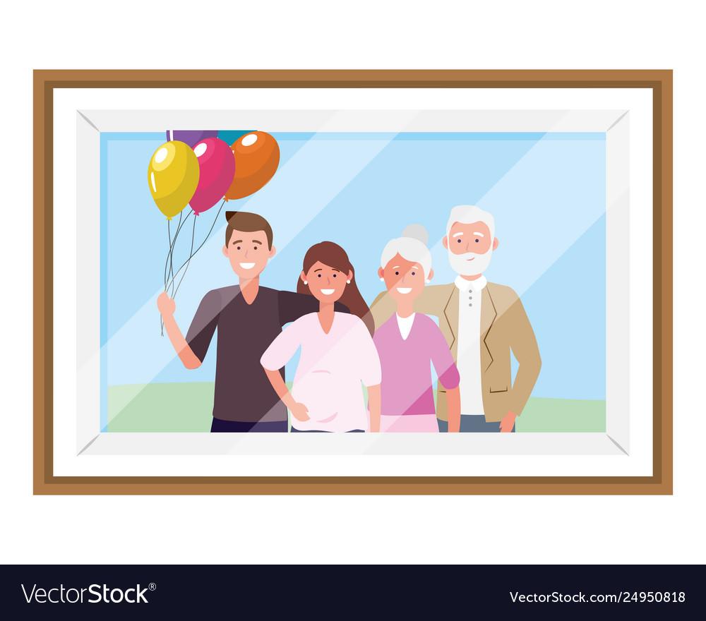Family Avatar Cartoon Character Photo Frame Vector Image