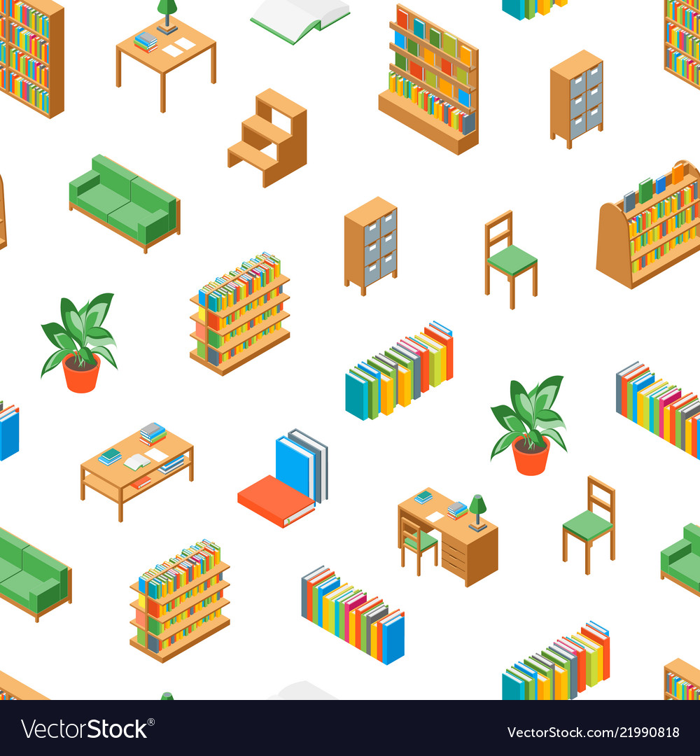 Furniture for library 3d seamless pattern