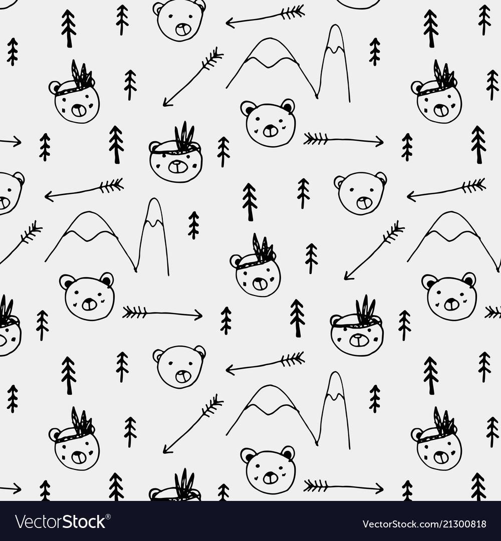Hand drawn cute bear tribal pattern background