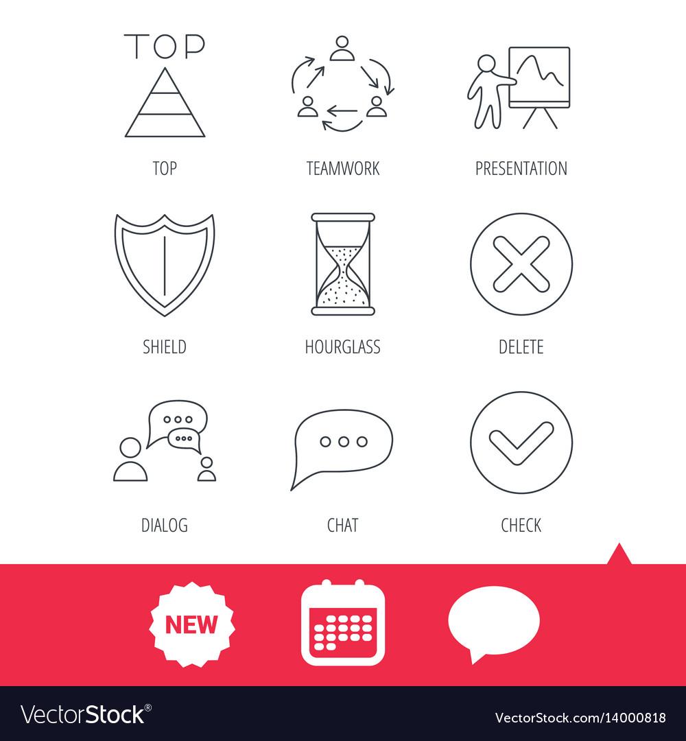 teamwork presentation and dialog icons royalty free vector