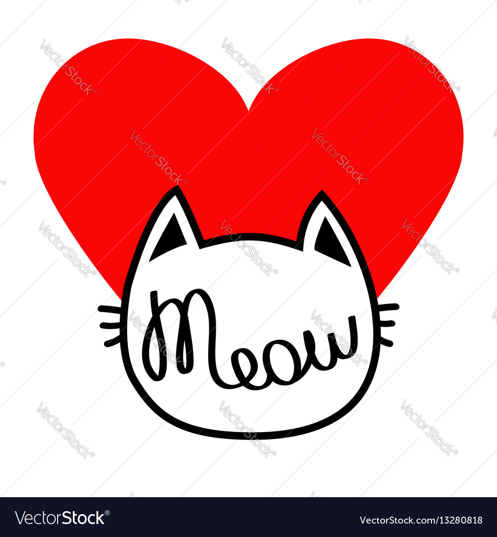 White cat head silhouette shape meow lettering vector image