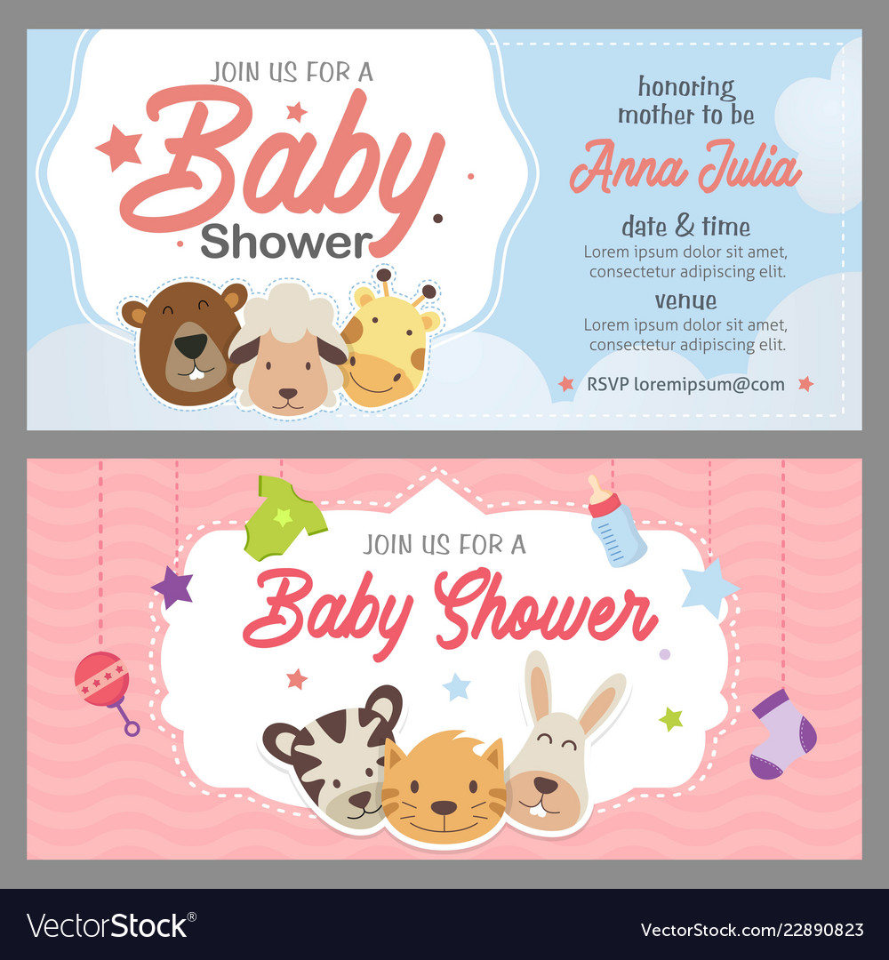 Baby Shower Theme Invitation Template Royalty Free Vector