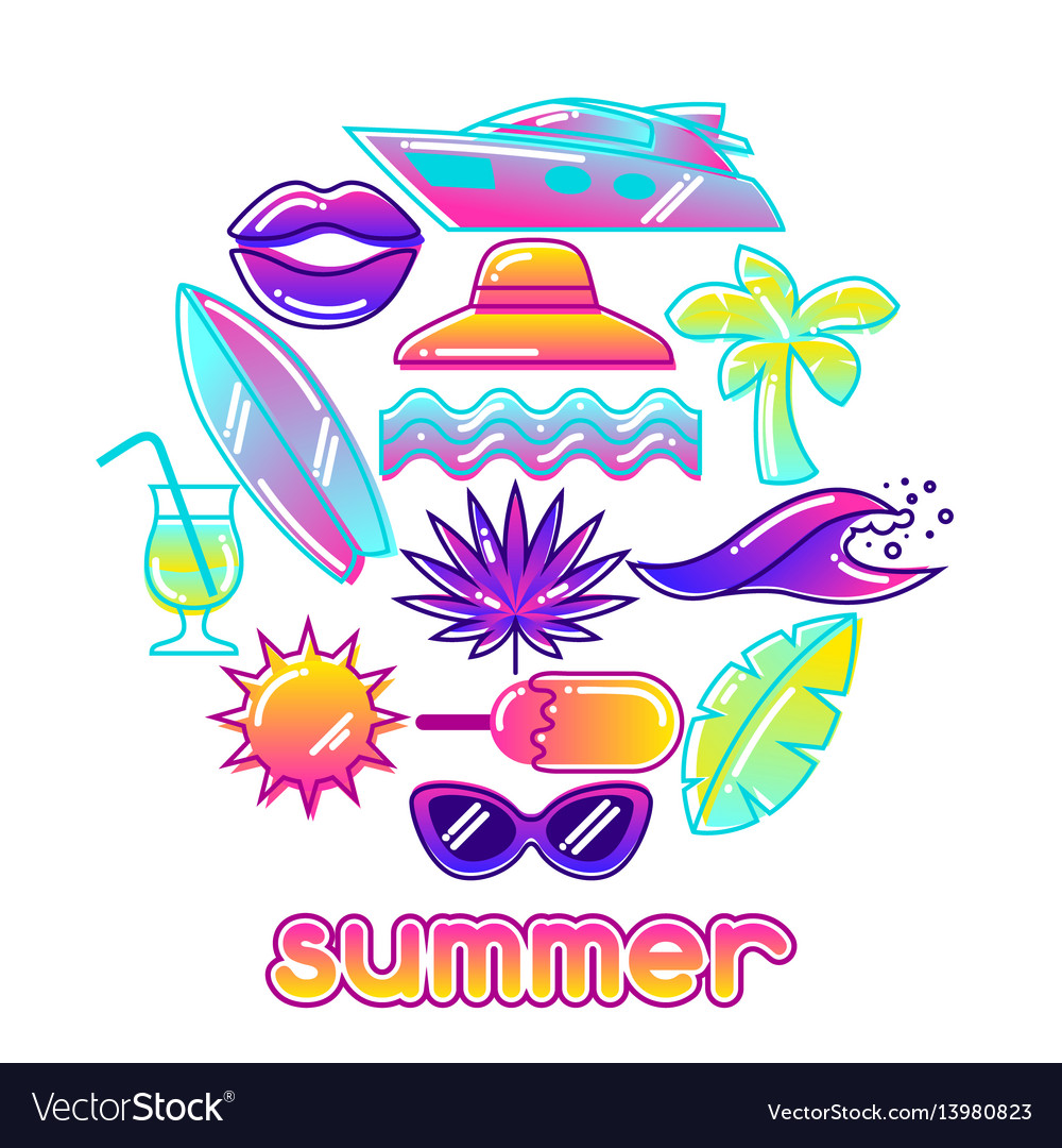 Background with stylized summer objects abstract
