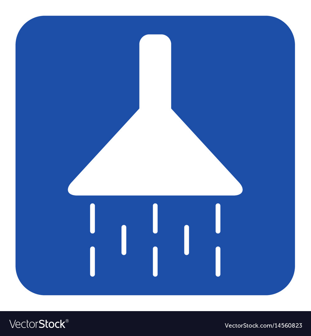 Blue white information sign - shower icon vector image