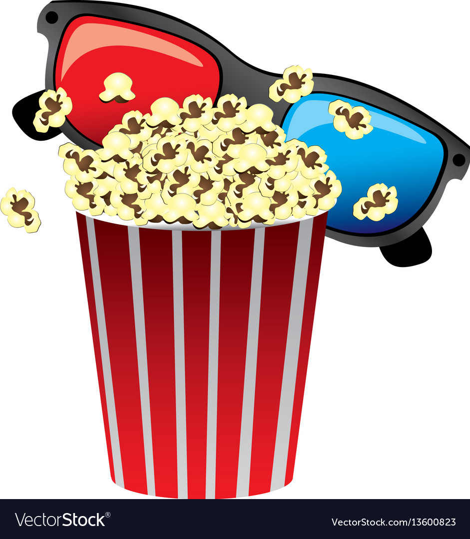 Color pop corn with 3d glasses icon