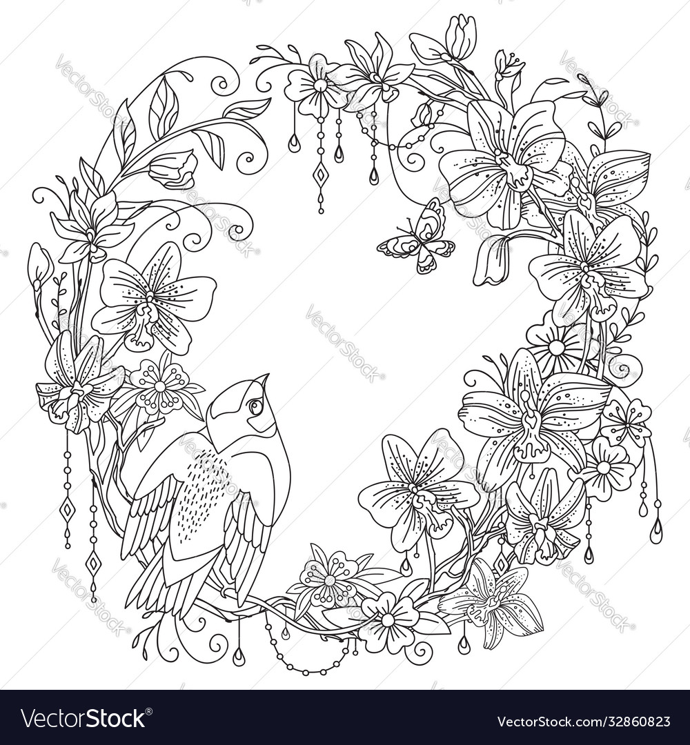 Coloring Flowers And Birds 3 Royalty Free Vector Image