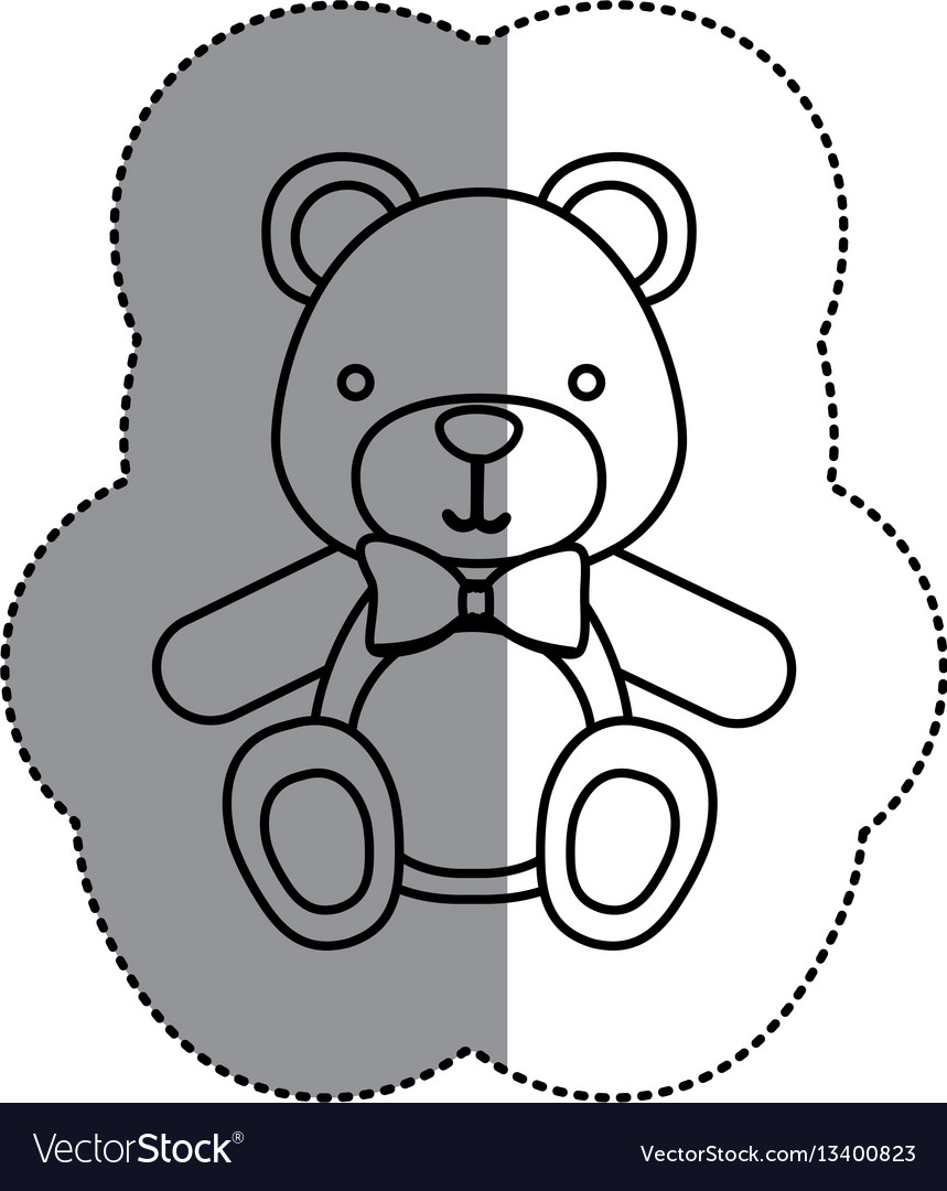 Contour teddy bear with tie icon