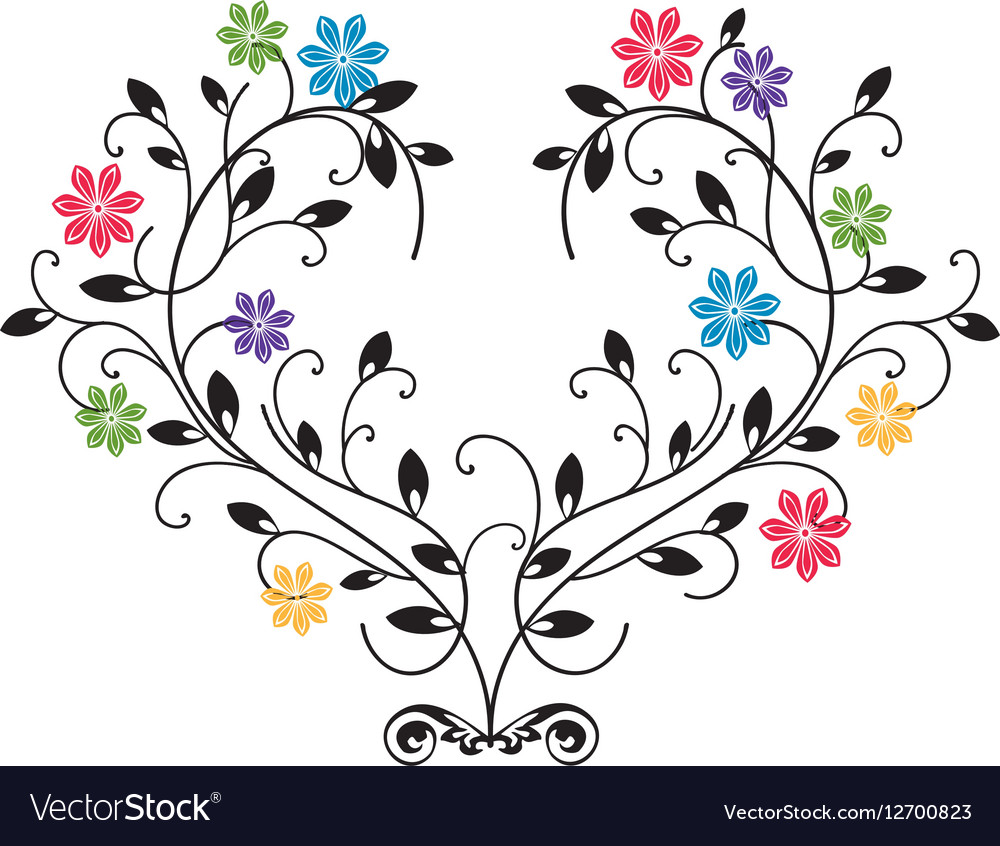 Flourishes with colored flowers