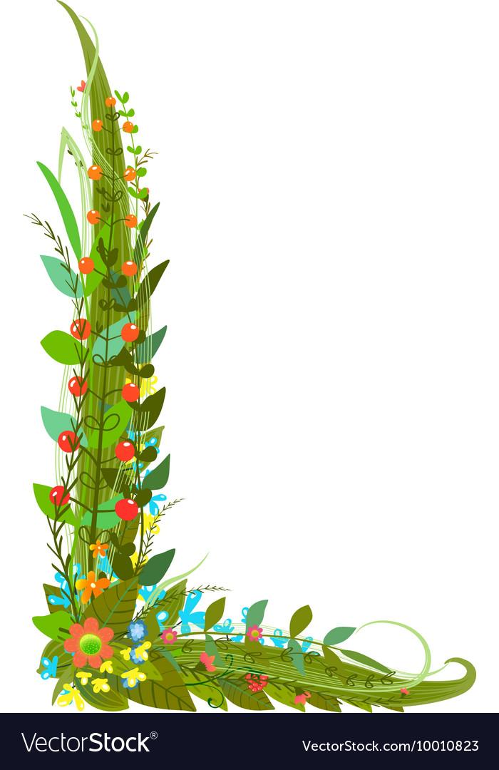 Flower Letter L Calligraphy Floral Elegant Vector Image
