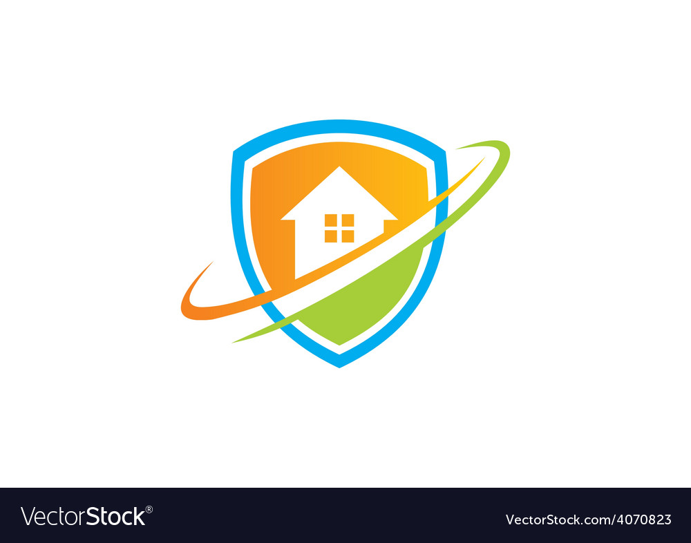 home shield protection logo royalty free vector image