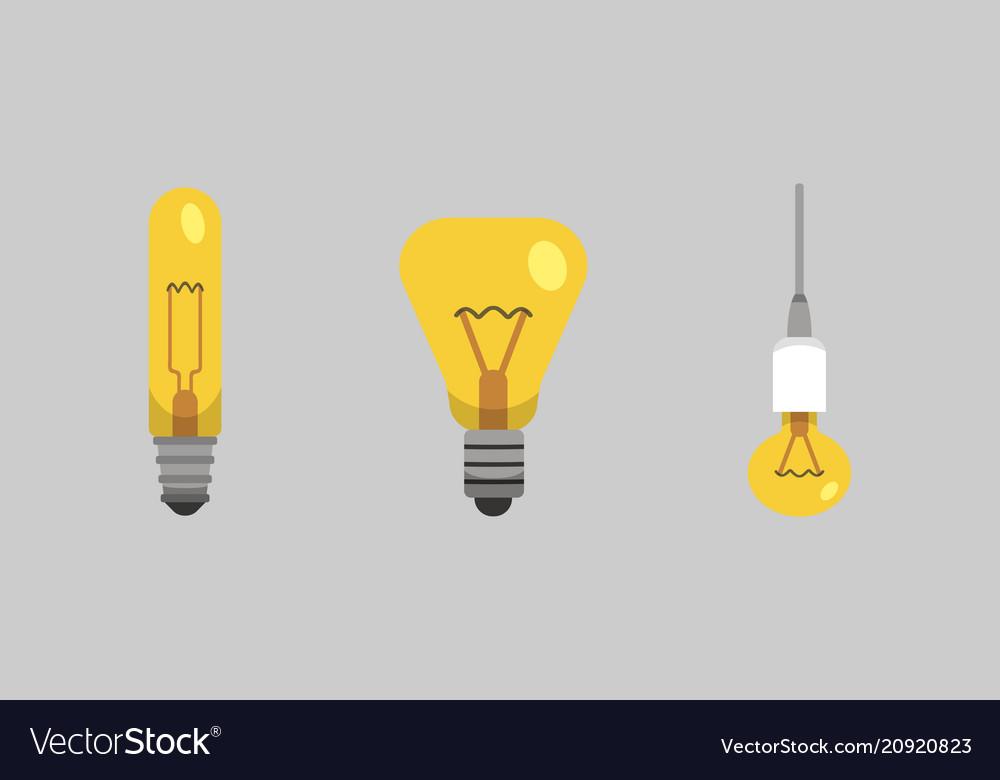 Light bulb and lamp set in cartoon style main